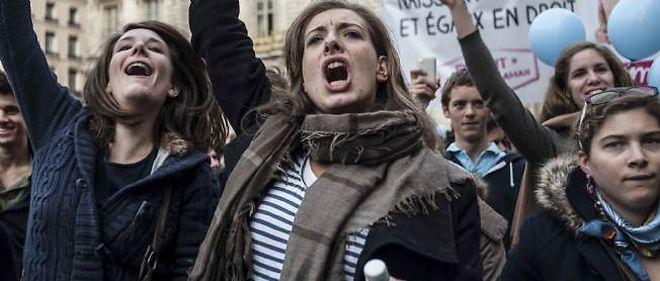 Des opposants au mariage gay à Lyon, samedi.