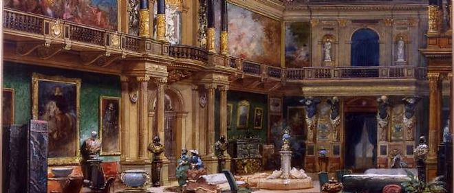 "Le salon des Rothschild, summum du bling-bling. Eugene Lami, ""Hall du chateau de Ferrieres"", vers 1860, aquarelle. Collection particuliere, France."
