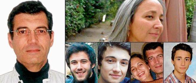 À gauche : Xavier Dupont de Ligonnès.  En haut : Agnès Hodanger (48 ans), son épouse. En bas, de gauche à droite, ses enfants : Arthur (21 ans) étudiant, Thomas (18 ans), Anne (16 ans, dans les bras de son père) et Benoît (13 ans).