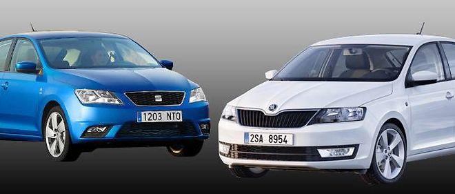"""La Seat à gauche, la Skoda à droite, faites votre choix au jeu des sept différences. Sous ces physionomies à peine différentes, les voitures et les techniques sont les mêmes. C'est ce qui permet de tirer les prix d'une voiture """"essentielle"""", à la façon de la Peugeot 301. Mais ces deux-là sont vendues en France."""
