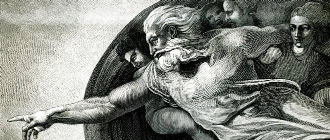 Dieu animant l'homme - Dieu insuffle l'âme à l'homme (peinture de Michel-Ange).