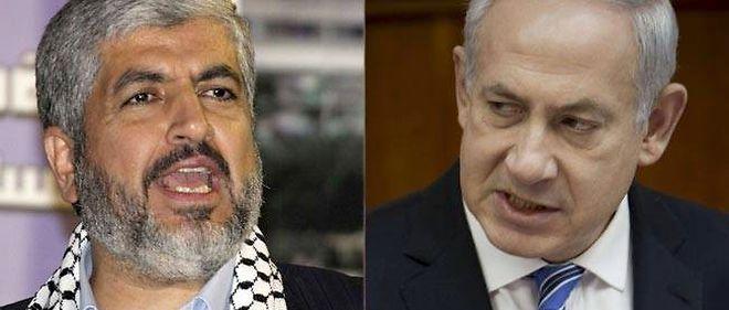 Khaled Mechaal (à gauche), chef du Hamas en exil, et Benyamin Netanyahou (à droite), Premier ministre israélien.