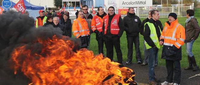 Manifestation de salariés de Florange (Moselle).
