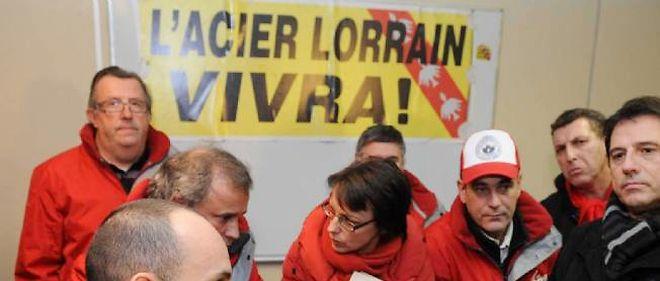Les syndicalistes CGT et FO d'ArcelorMittal à Florange le 12 décembre dernier.