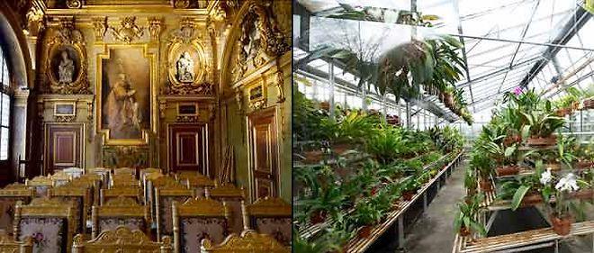 La serre des orchidées et la chapelle privée de Marie de Médicis au sénat.