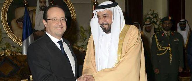 François Hollande et le président des Émirats arabes unis, le 15 janvier 2013.