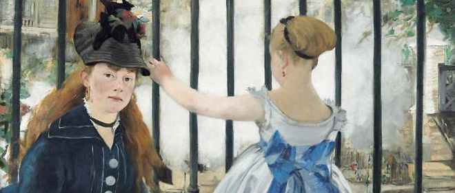 """""""The Railway"""" (1873) d'Édouard Manet, exposé à Londres.   National Gallery of Art, Washington, don d'Horace Havemeyer à la mémoire de sa mère, Louisine W. Havemeyer, 1956.10.1"""