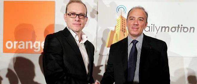 Cédric Tournay, le P-DG de Dailymotion, et Stéphane Richard, le P-DG d'Orange.