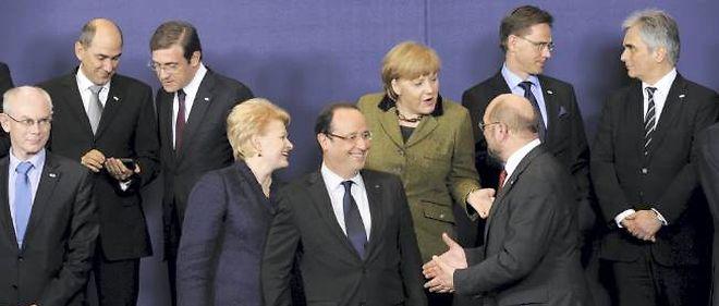 Photo de famille à l'ouverture du sommet européen jeudi, à Bruxelles.