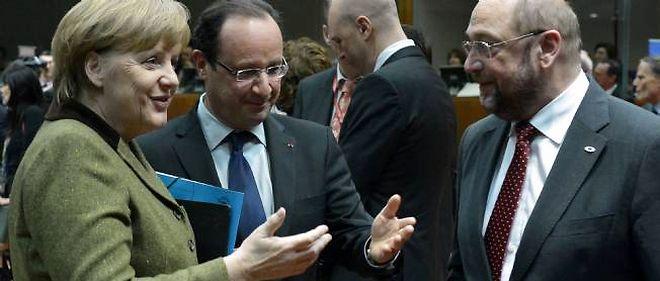 François Hollande, Angela Merkel et Martin Schulz, le président du Parlement européen.