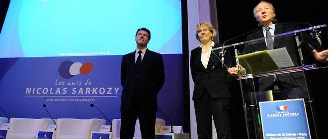 """Christian Estrosi, Nadine Morano et Brice Hortefeux lors du rassemblement de l'association des """"amis de Nicolas Sarkozy""""."""