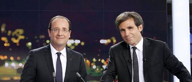 Francois Hollande et David Pujadas, sur France 2, le 29 mai 2012.