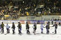 Le Rouen Hockey Elite, en jaune et noir. ©Pascal Mateo