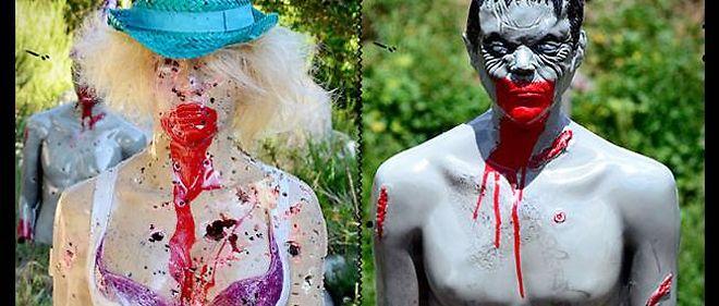 """Zombie Industries crée des """"mannequins-cibles de tirs"""" pour s'entraîner face à une attaque imminente de zombies. Certains modèles, comme """"The ex girlfriend"""", font polémique."""