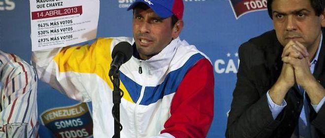 Le leader de l'opposition Henrique Capriles, le 16 avril 2013 à Caracas.