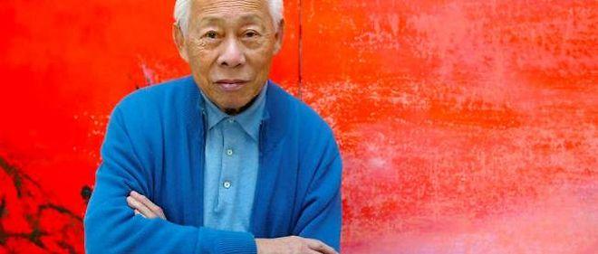 Le peintre Zao Wou-ki dans son atelier, en 2003.