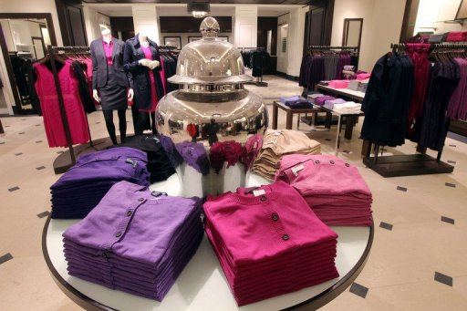 A picture taken on December 7, 2011 on the famous Champs-Elysees Avenue in Paris, shows an inside view of the 16.000 square-foot US Banana Republic clothes store, on the eve of the opening day. US retailer Banana Republic, the luxury brand of US Gap company which currently has close to 40 Gap stores open in France, will open its first store in France tomorrow. AFP PHOTO PIERRE VERDY