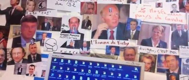 """Capture vidéo du """"mur des cons"""" filmé en cachette au siège du Syndicat de la magistrature."""