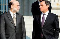 Ben Bernanke, le patron de la Fed et Mario Draghi, son homologue de la BCE. ©BRENDAN SMIALOWSKI