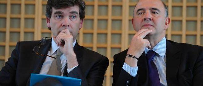 Arnaud Montebourg et Pierre Moscovici, à Bercy, en janvier 2013.