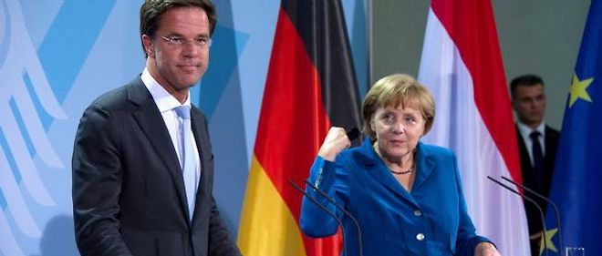 Le chef du gouvernement néerlandais Mark Rutte et la chancelière allemande Angela Merkel.
