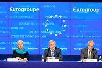La présidente du FMI Christine Lagarde, le président de l'Eurogroupe Jean-Claude Juncker et le commissaire européen pour les afaires économiques et monétaires Olli Rehn. ©Jock Fistick