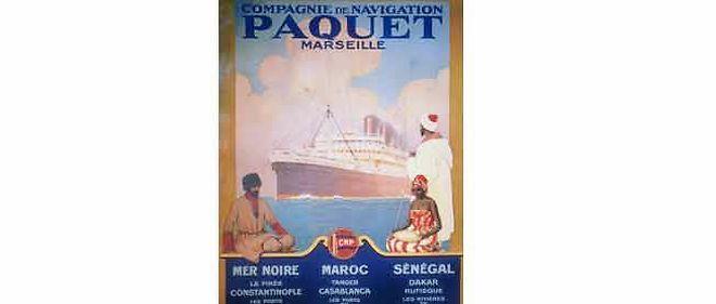Affiche des croisières Paquet, du nom de leur fondateur, datant de 1910.