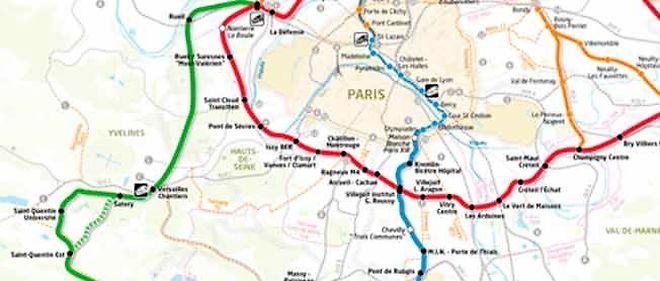 """La ligne verte ou """"ligne 18"""" du Grand Paris, relierait Versailles à Orly."""