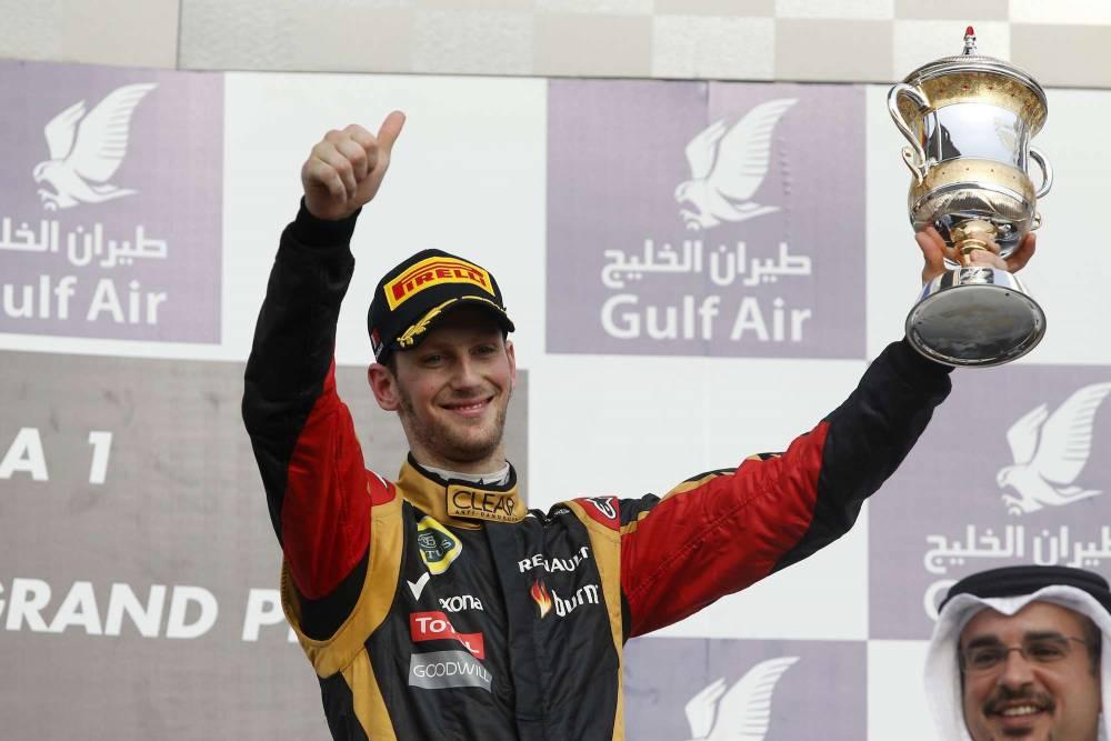 Romain Grosjean, sur le podium de Bahreïn. © Charles Coates/LAT Photographic ©  Charles Coates/LAT Photographic