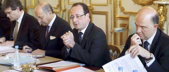 Arnaud Montebourg, Laurent Fabius, François Hollande et Pierre Moscovici.