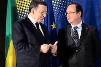 Manuel Barroso et François Hollande le 15 mai. ©Thierry Charlier / AFP