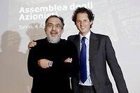 Sergio Marchionne, à la tête de l'alliance Fiat Chrysler et, à droite, John Elkann, petit-fils de Giovanni Agnelli et président de Fiat, voient bien leur salut outre atlantique. ©Giulio Lapone