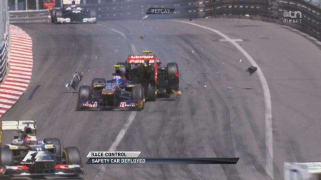 L'accident de Romain Grosjean sur Daniel Ricciardo. © DR ©  DR