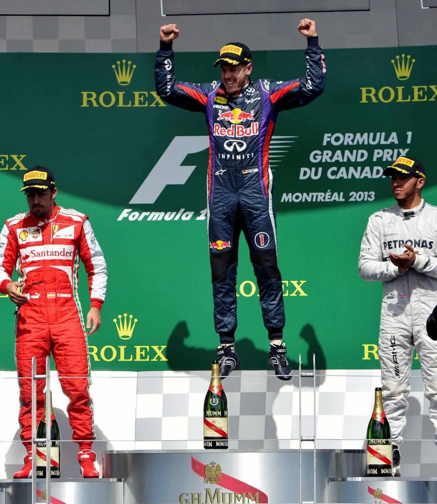Le podium à l'issue de ce Grand Prix du Canada. © EMMANUEL DUNAND / AFP ©  EMMANUEL DUNAND / AFP