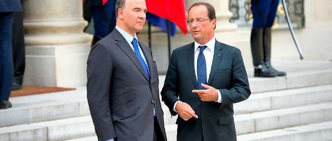 François Hollande et son ministre de l'Économie et des Finances, Pierre Moscovici.
