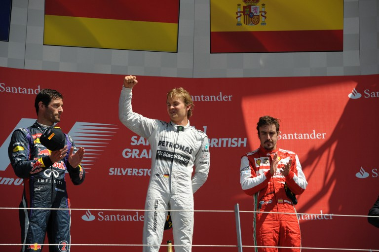 Entre Webber à gauche et Alonso à doite, Rosberg offre à Mercedes une très belle victoire