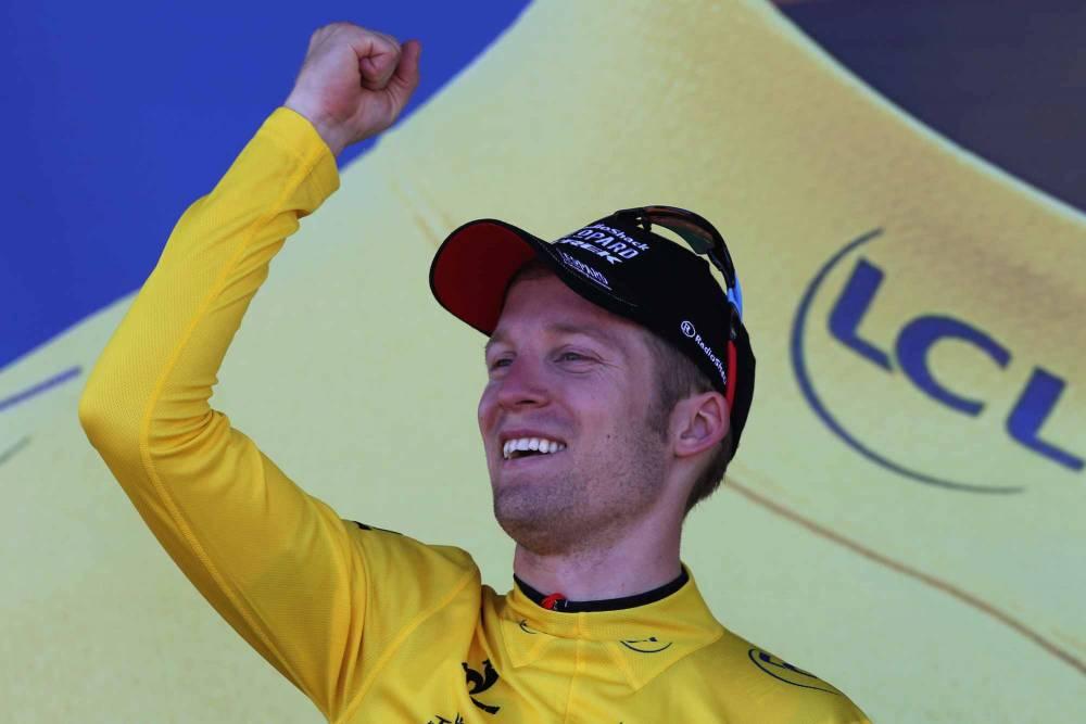 Jan Bakelants devient le 61e Belge à revêtir le maillot jaune. © PASCAL GUYOT / AFP