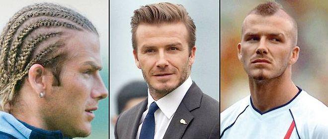 Trois des innombrables coupes arborées par le footballeur David Beckham, dont la mère était... coiffeuse.