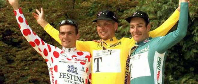 Erik Zabel (a droite), en compagnie de Richard Virenque et Jan Ullrich, sur le Tour de France 1997 (image d'illustration).