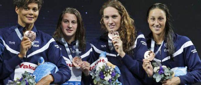 Coralie Balmy, Charlotte Bonnet, Camille Muffat et Mylène Lazare ont décroché la médaille de bronze sur le relais 4x200 m aux mondiaux de natation de Barcelone, en Espagne.