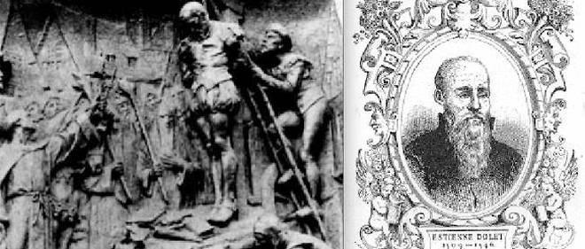 3 août 1546. L'imprimeur Étienne Dolet est brûlé comme hérétique à Paris. Faux procès...