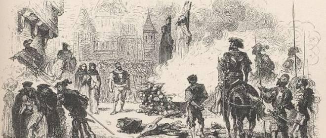 Représentation du supplice de Jean Vallière, luthérien.