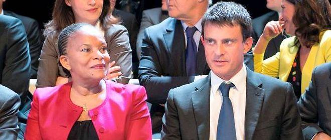 Christiane Taubira et Manuel Valls en septembre 2012, lors de l'émission Des paroles et des actes.