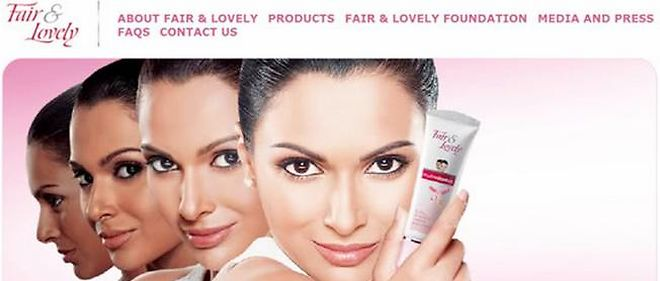 Capture d ecran du site Fair and Lovely, marque de cosmetiques indienne. 4772fc6d33c5