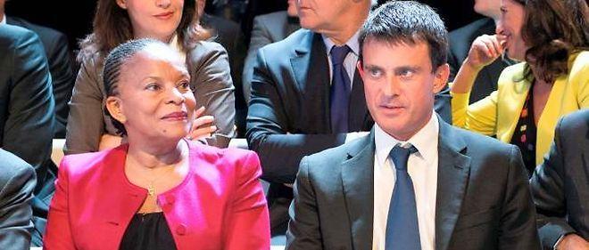 """Christiane Taubira et Manuel Valls, le 27 septembre 2012, sur le plateau de """"Des paroles et des actes""""."""