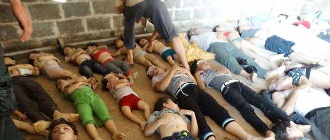 Des victimes de l'attaque chimique perpétrée le 21 août dans le quartier de la Ghouta, à l'est de Damas.