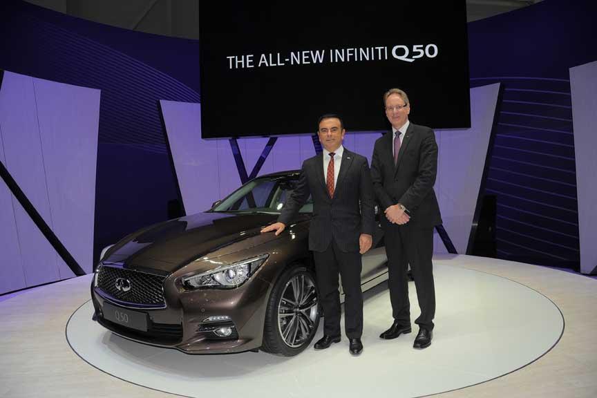 Carlos Ghosn (Renault-Nissan) et Johan de Nysschen (Infiniti) ont fièrement présenté la Q50, première voiture commercialisée avec une direction électrique