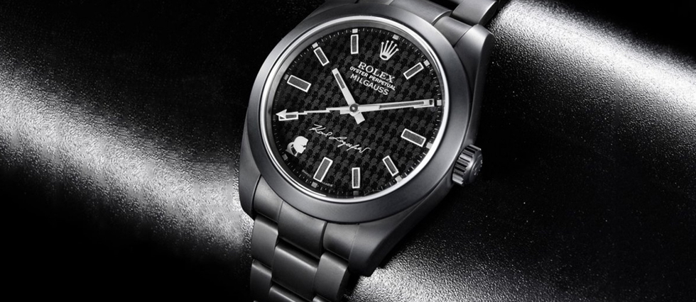 <p>Une Rolex Milgauss co-signée Bamford et Karl Lagerfeld.</p>