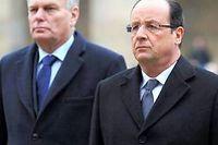 Jean-Marc Ayrault et François Hollande. ©Zacharie Scheurer / AFP