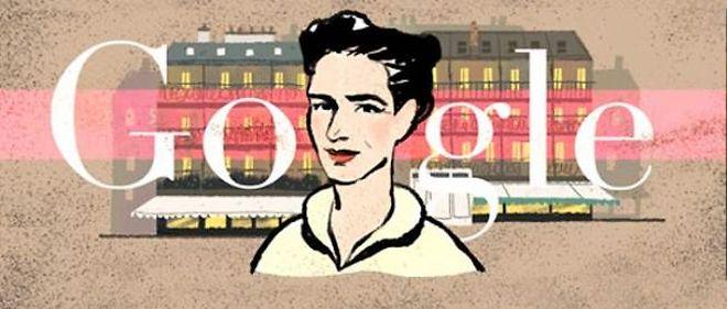 """Le """"Google doodle"""" du 9 janvier 2014. Simone de Beauvoir."""